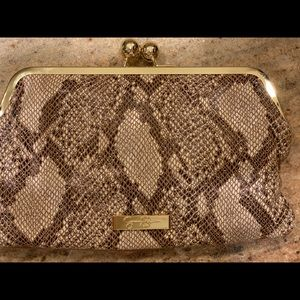 Brown & snake skin Jessica Simpson clutch